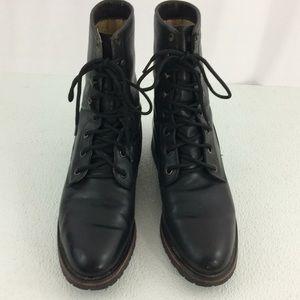 Tony Lama Black Leather Lace Roper Cowboy Boots
